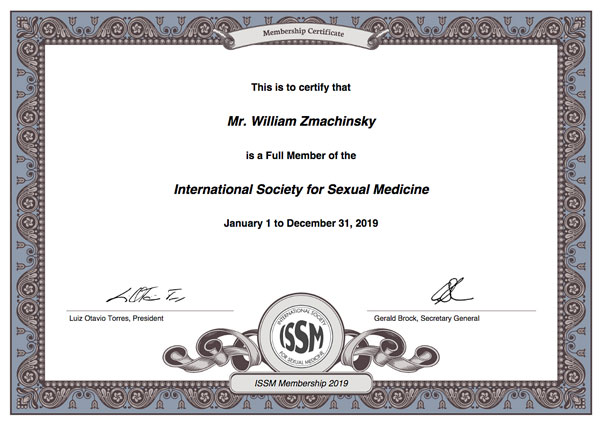 William Zmachinsky, member ISSM, International Society for Sexual Medicine